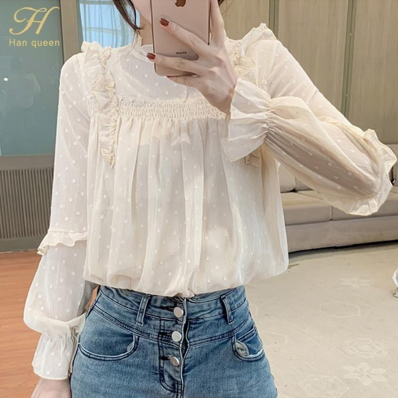 Han Queen Frühling Herbst Mode Basis Hemd Vintage Bluse Frauen Weiße lange Ärmel Elegante Koreanische Weibliche Lose Street Hemden Frauen Blusen