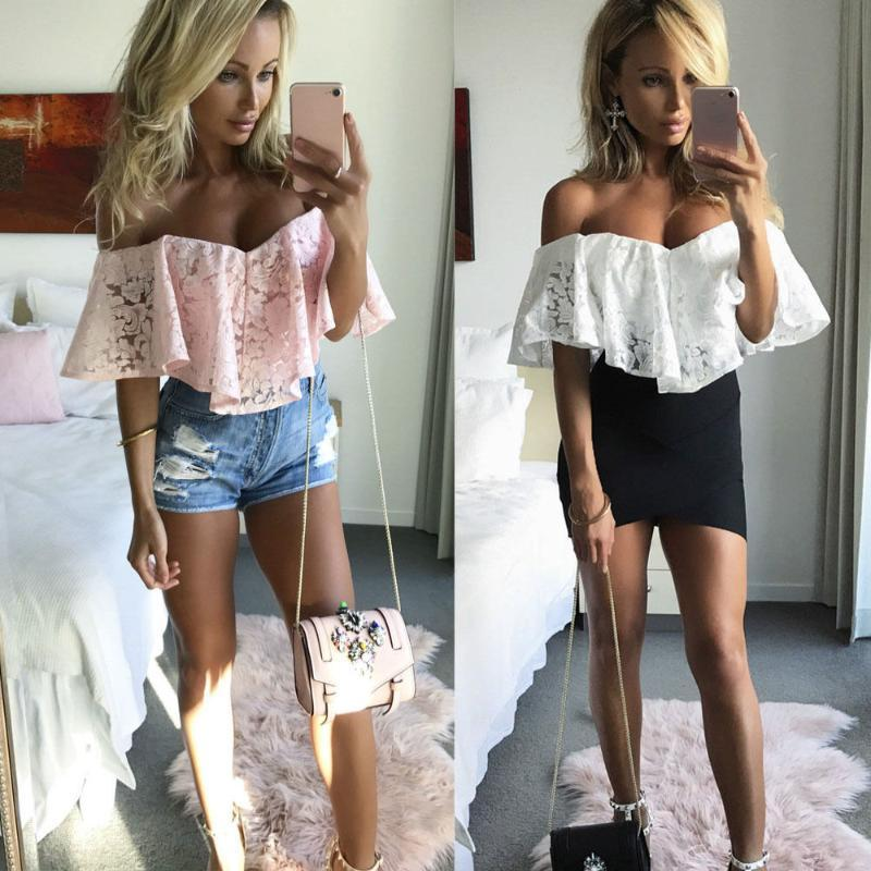 Einteilige Anzüge 1 STÜCKE Sommer Frauen Weiße Spitze Sleeveless Slash Hals Playsuit Bodycon Party Club Jumpsuit Body