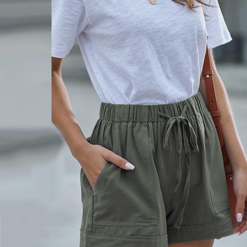 Pantalones spodenki para talla mujer casual sólido múltiples bolsillo mujer cordón corta mujer pantalones cortos más