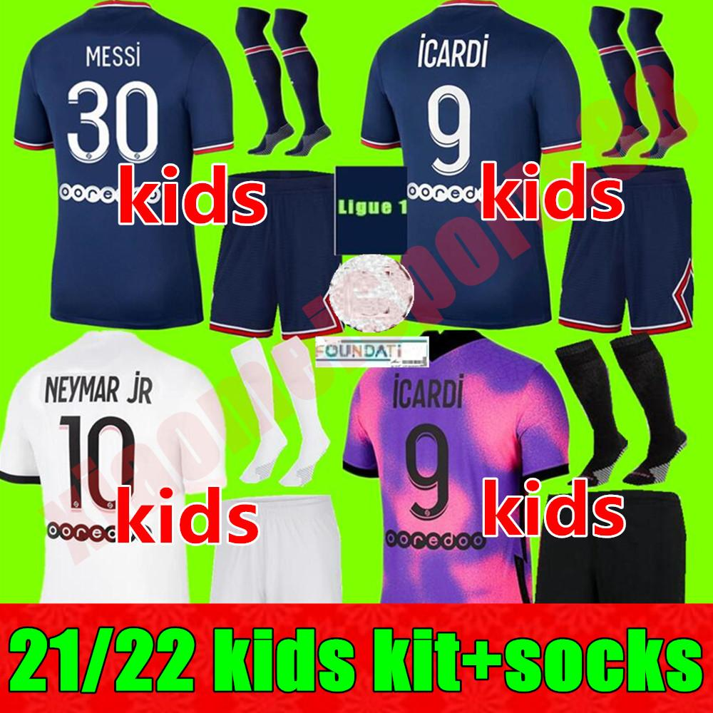 21 22 Jóvenes Mbappe Kean Soccer Jerseys 2021 2022 Messi Marquinhos Verratti PSG Maillots De Camisa de Fútbol ICARDI DI MARIA SERGIO RAMOS KIT DE NIÑOS PARA NIÑOS UNIFORMES ENFANTES