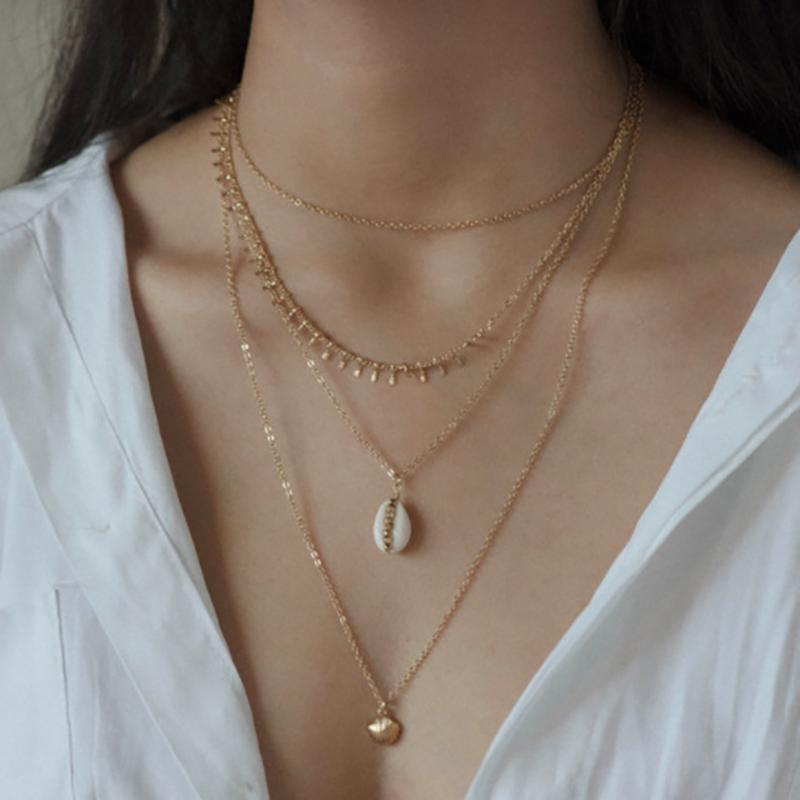 Gold Farbe Choker Halskette für Frauen 4 Schichten Fan Shells Perlen Anhänger Kette Halsketten Anhänger Samt Chokers Modeschmuck