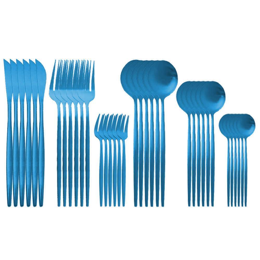 Cubiertos de vajilla azul Cuchillo de cuchillo Fruta Tenedor Café Cucharada Cola de oro Cubiertos Cubiertos de acero inoxidable Vajilla Setware Set Y0702