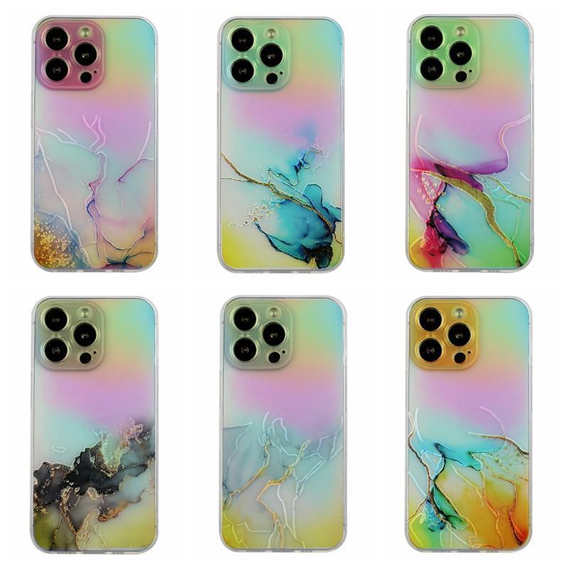 Bling Laser Coloré Marbre Soft TPU Soft TPU Cas de téléphone pour iPhone 13 Pro Max 12 Mini 11 XR XS x 8 7 SE2 6 6S Naturel Granite Rock pierre Fine Trou Femme Femme Dame Dame