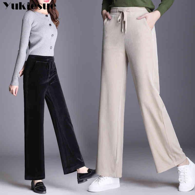 Hohe Taille Cord-breite Beinhose für Frauen elastisch Winter warm dicke gerade Hosen weibliche Hose plus Größe 5XL 6XL 210412