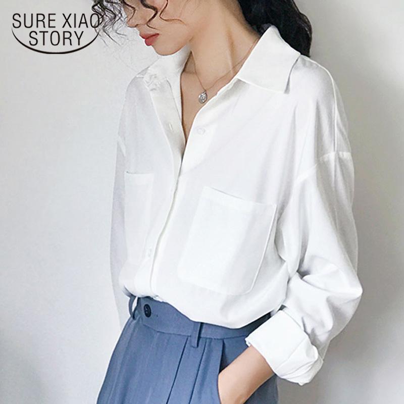 Escritório Senhora Branco Manga Longa Camisas Dois Bolsos Tops Elegante Sólido Collar Colares Mulheres 6068 50 210417