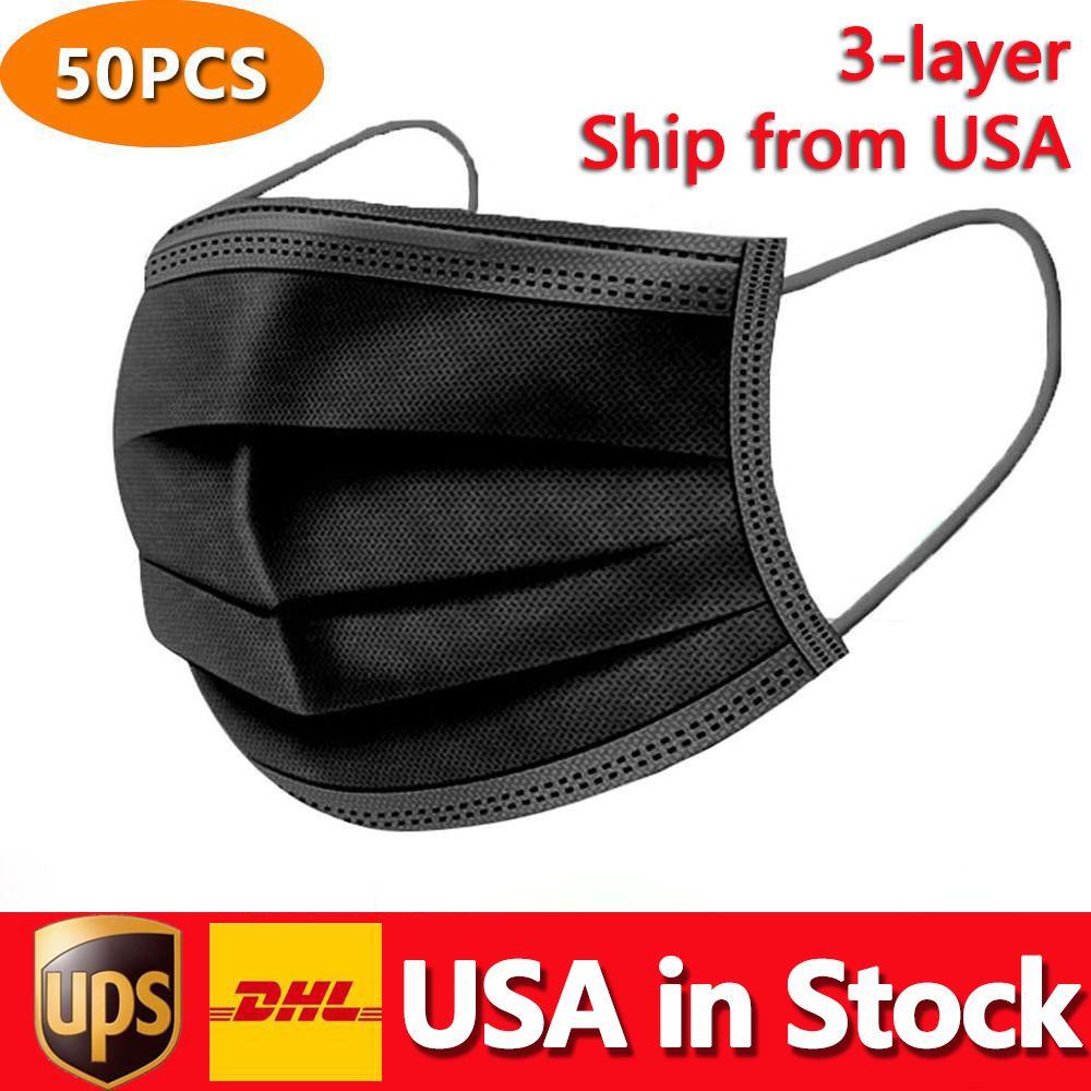 EUA em estoque máscara facial descartável preto 3-camada proteção com máscaras exteriores sanitárias da boca