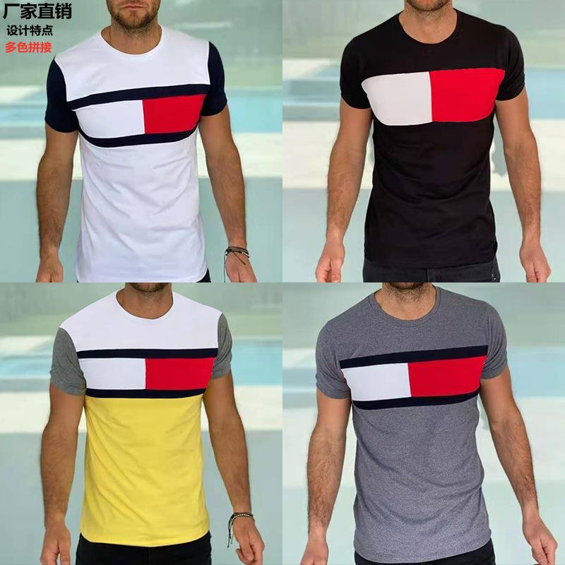 Мужская 2021 Летняя стройная Новая Томми Личность То же самое Цвет Сопоставляющее Мода Круглый Шеи Повседневная Футболка