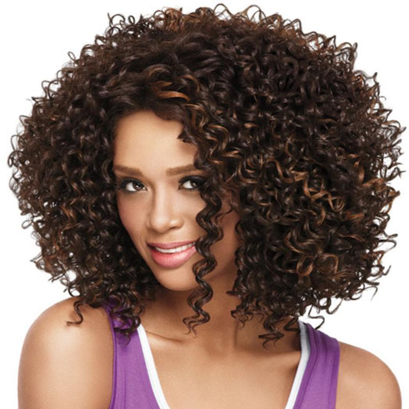 Parrucca riccia Afro Parrucche sintetiche per le donne nere giornaliere Brown Brown Brown Falffy Falke Capelli Capelli resistenti al calore fibra