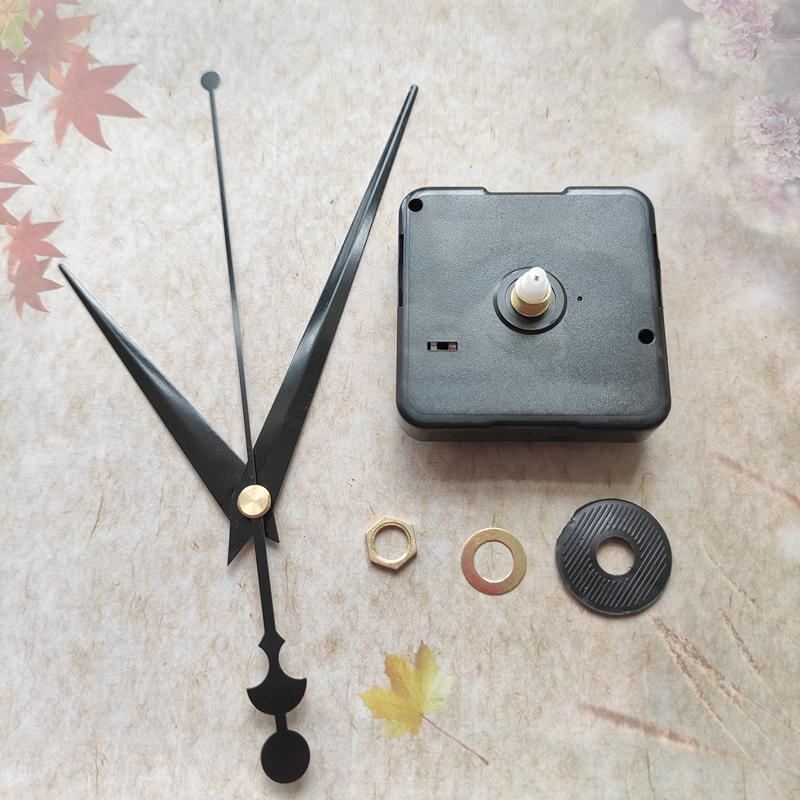 Wholesale 50pcs 12mmシャフトQuartz時計の動きNO TICサイレントフィットアップDIYブラックハンドあなたの壁時計を修理