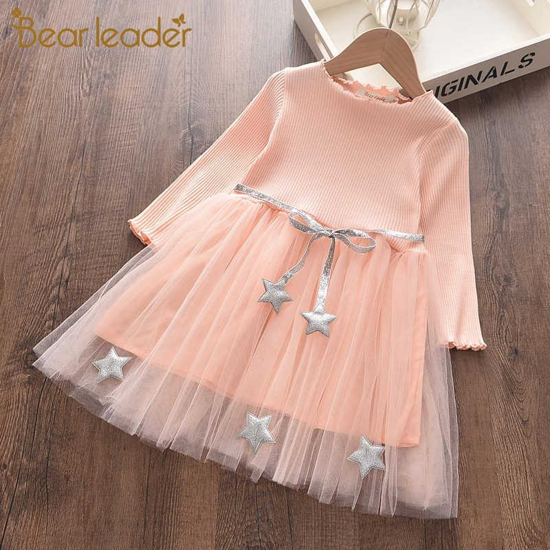 Bear Leader Girls Princess Dress Fashion Party Mesh Dress Kids Patchwork Costumes Casual Outfits Baby Lovely Suits 4 7Y 210708