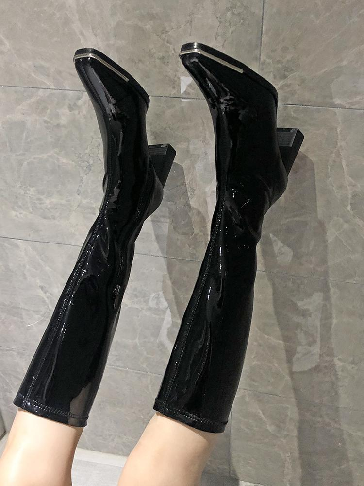 Boots Long Barrel Elegant Temperament High-Heeled Ladies Spring And Autumn Fashion Solid Color Single Boots.