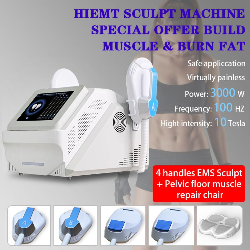 2021 Sculpt Emslim Hi-EMT + Emsella 기계 쉐이핑 EMS 근육 자극기 전자기 지방 굽기 Hiemt 조각 아름다움 장비 무료 로고