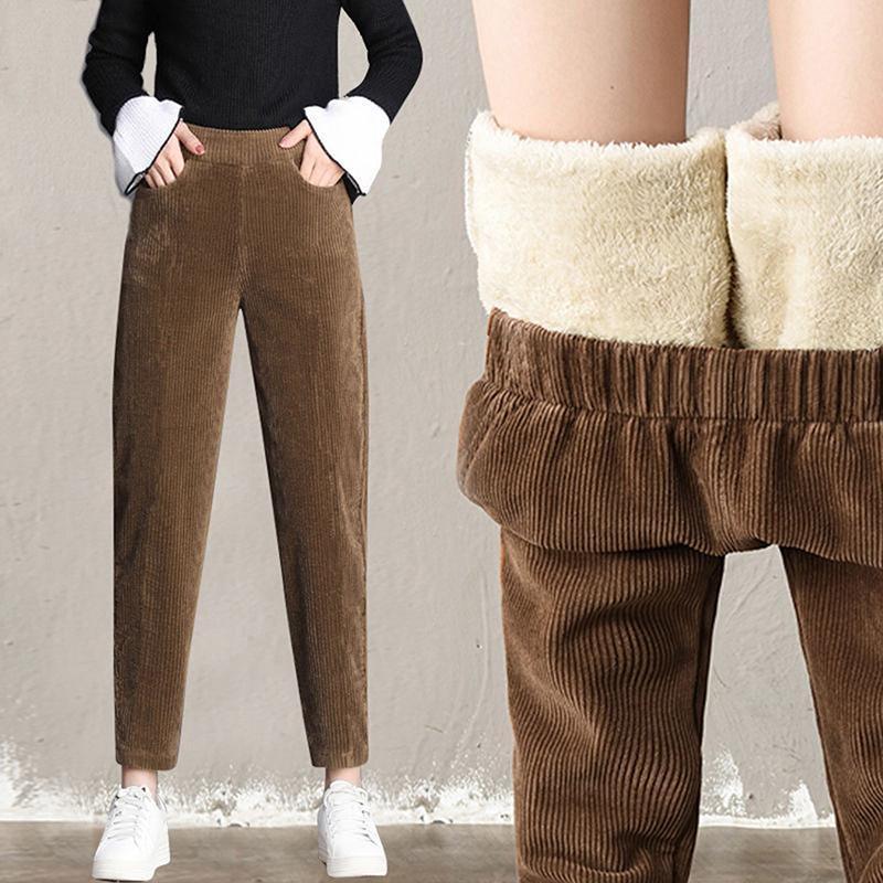 Pantalones para mujer Capris Peluche grueso Casual Rodado Cálido otoño e invierno 2021 Cintura alta Harem Pantalones Mujeres Mujeres