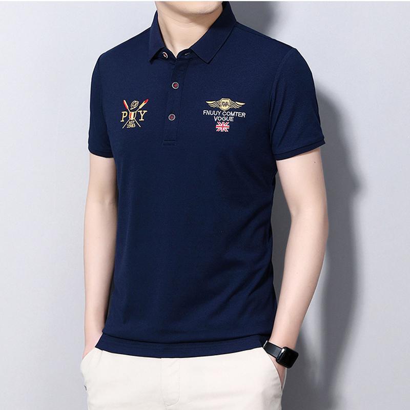 2021 패션 잘 생긴 옷깃 바닥 폴로 탑스 남자 아이스 실크 말 로고 자수 성격 남성 반팔 티셔츠