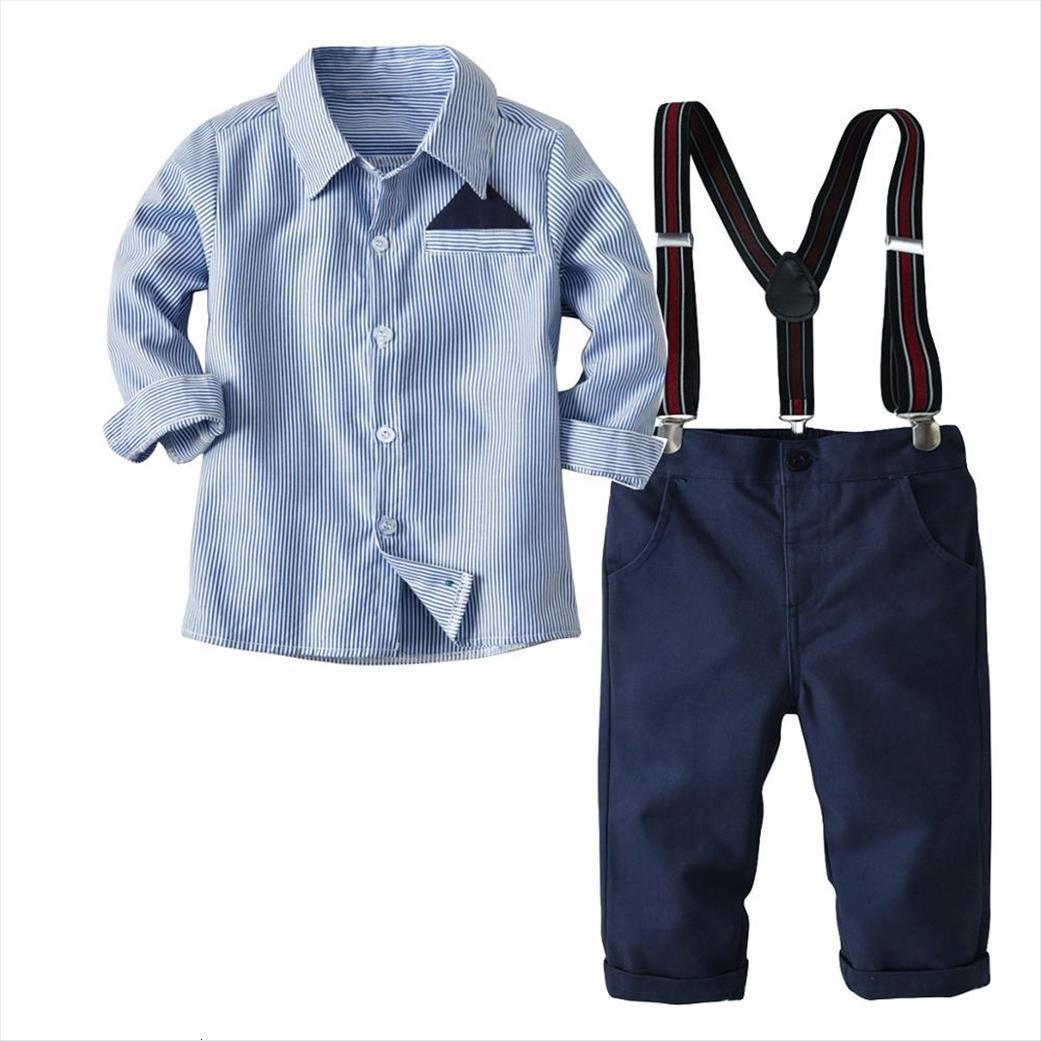 Childrens Suits 2pcs Kids Baby Suit Boys Long Sleeve Business Striped Shirt Pants Set For 2 8 Age