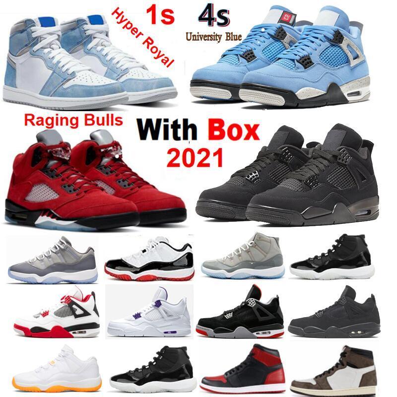 2021 Sapatos de Basquete Vermelho 5 Hyper Royal 1 Unc Raging Low Legend 11 Universidade Blue Men Sneakers Atacado com Caixa 1S 4S 6S 11S 12S 13S