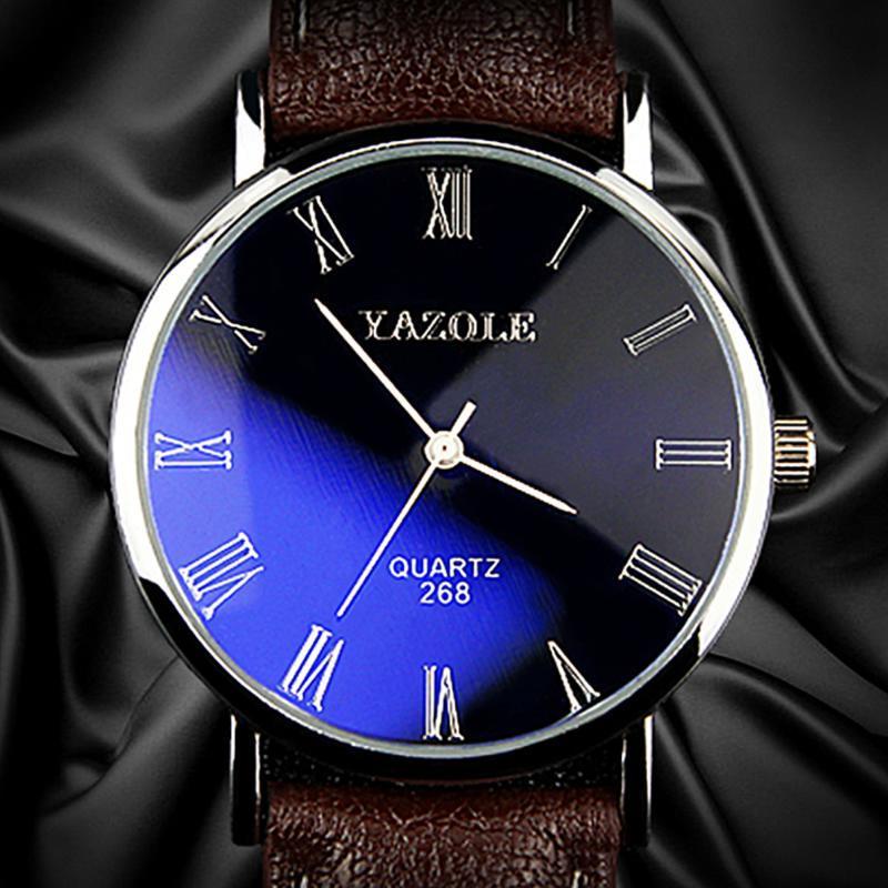 Armbanduhren Yazole Männer Uhren Mode Quarz Mann Leder Armbanduhr Herren Einfache Stil Watch Business Männliche Uhr Blue Ray Relogio Masculino