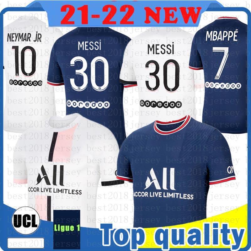 Messi 30 MBappe 남성 축구 유니폼 Sergio Ramos Hakimi Maillots 축구 셔츠 Marquinhos Mens 여성 키트 Maillot 드 발 111 2021 2022