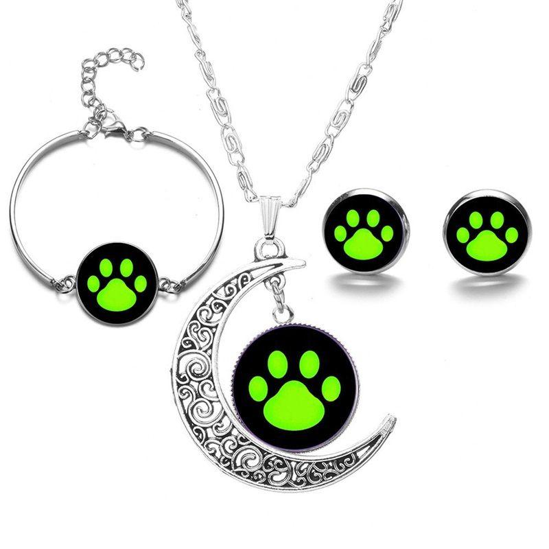 8шт / набор чудесных божьих кошек кошка Нуар кулон ожерелье и браслет серьги набор для подарка день рождения 2186 Q2