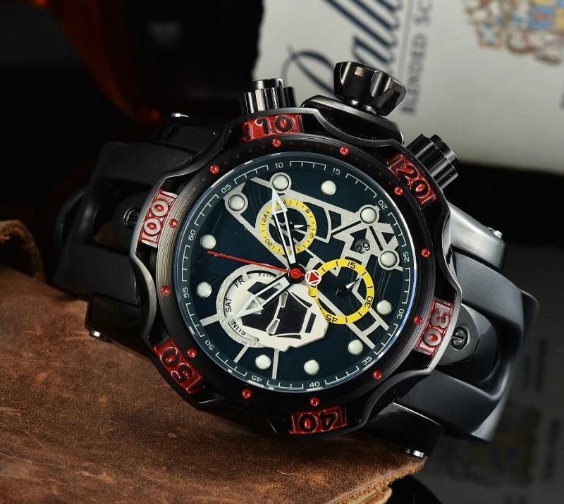 Fashion Skeleton Skull sport quartz Men Watch Sports mens Red Wristwatches Gift