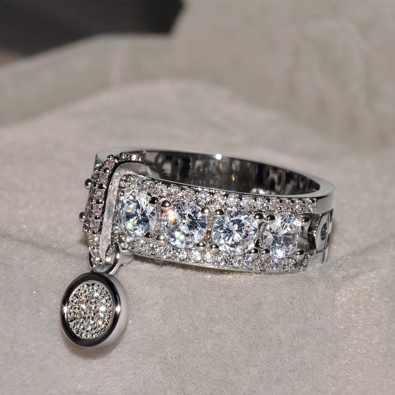 Varış Vintage Gül Altın Dolu Alyans Kadınlar Için Moda Takı Lüks Beyaz Zirkon Nişan Yüzüğü