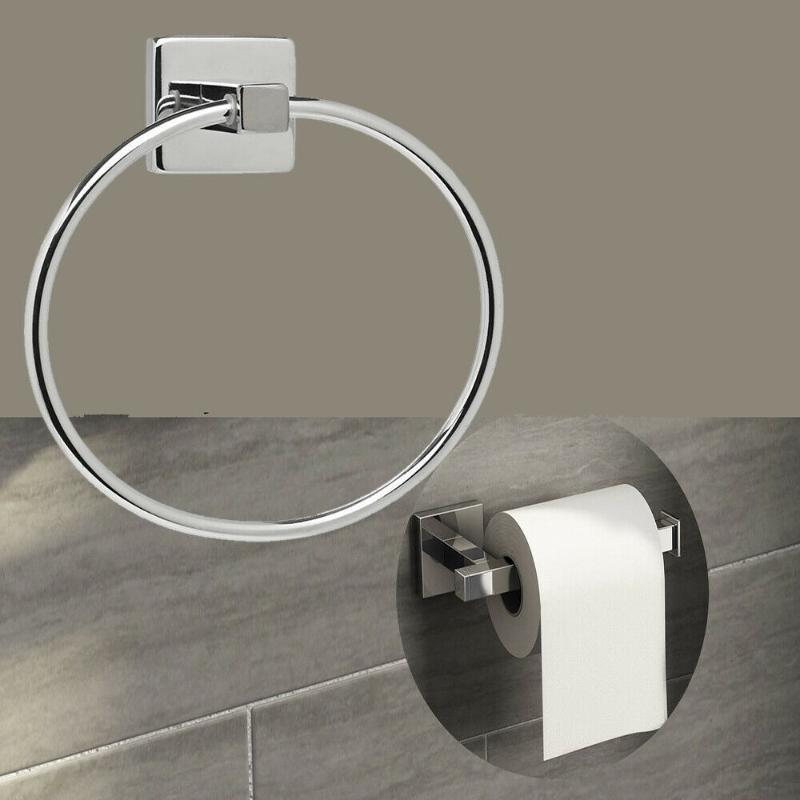 Havlu rafları paslanmaz çelik duvar montaj banyo aksesuarları halka tuvalet kağıdı rulo tutucu-havlu kanca-havlu bar setleri