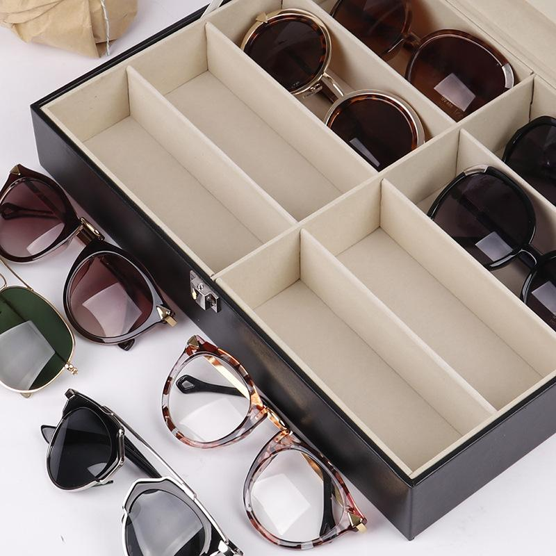 Eyeglass Sunglasses Box With Window Imitation Leather Glasses Display Case Storage Organizer Collector 8 Slot 45 S2 D0ID