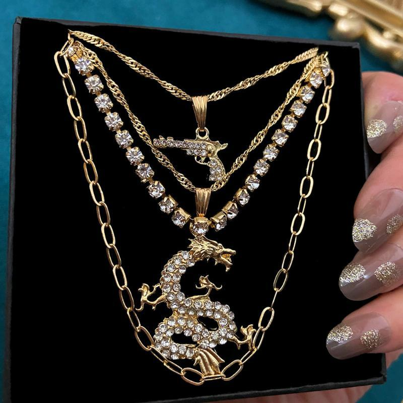 Punk Crystal Gun Pistol Dragon Pendant Necklaces For Women Multilayer Tennis Chain Choker Party Jewelry Gifts Chains