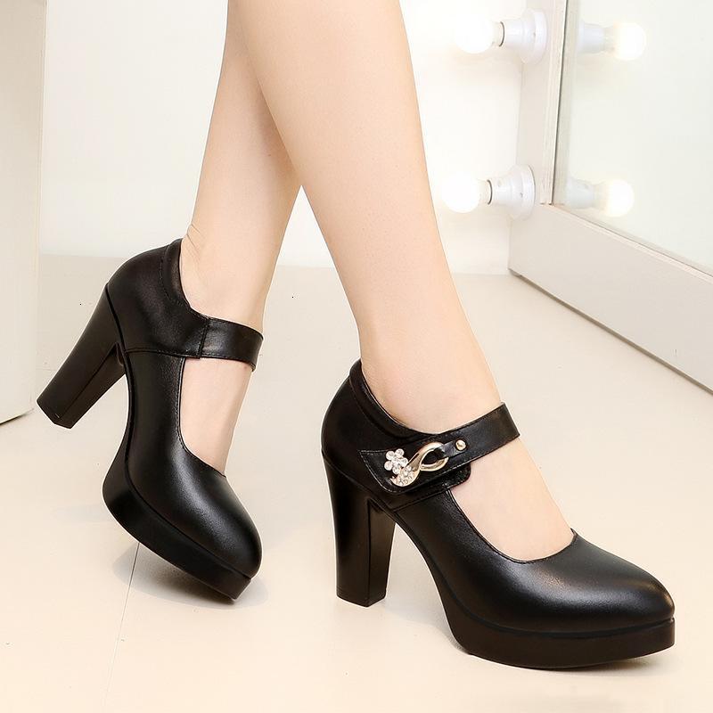 드레스 신발 여성 블랙 라운드 발가락 높은 펌프 플랫폼 발 뒤꿈치 패션 편안한 EB6R