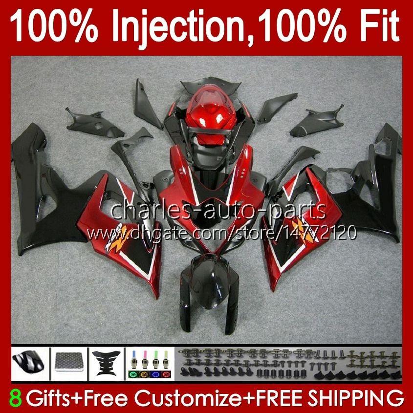kit + cowl for suzuki gsxr 1000 gsx-r1000 gsxr1000 2005 2006 바디 11HC.11 GSXR-1000 05 06 K5 Bodywork 진한 빨간색 재고 GSX R1000 05 06 페어링