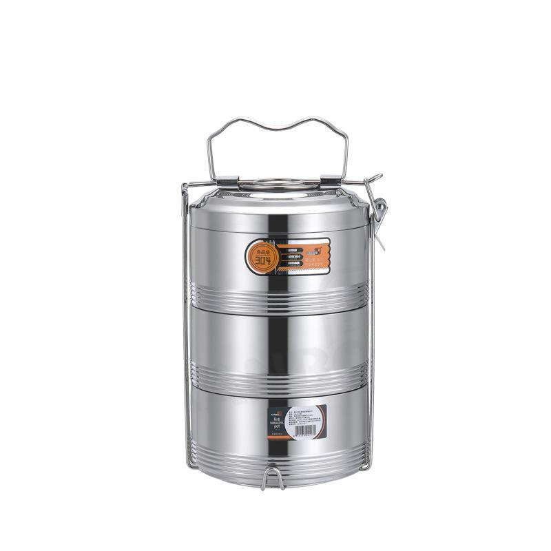 Große 2 3 4 Schicht Edelstahl Thermos-Lunchbox Tragbare Wärmedämmung Lebensmittel-Container-Büro-Picknick Bento-Box-Leckdicht 726 V2