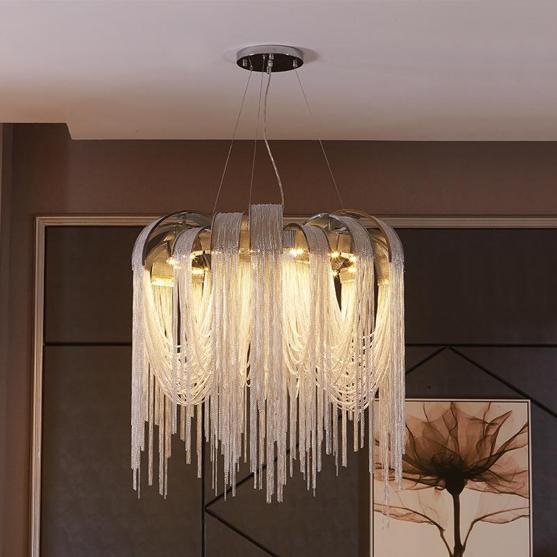 Nuevo diseño LED de lujo LED de aluminio borlas de las lámparas colgantes Lámparas colgantes Iluminación para villas Sala de estar Luz de oro / plata Se puede personalizar
