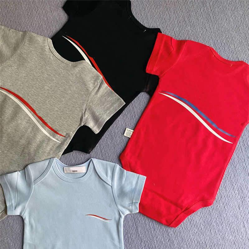 Parted Cotton Kids Rompers Комбинезон с коротким рукавом Малыш Детская ползунка Мода Девушки Мальчики Малыша Одинёные Одиночные Одежда 4 Цвета