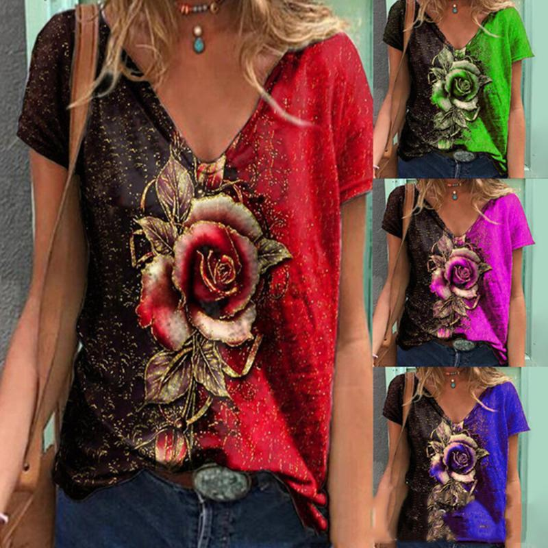 Women's T-Shirt Women Summer T Shirts V Neck Floral Printed Short Sleeve Casual Loose Pullover Plus Size Shirt Clothing Streetwear