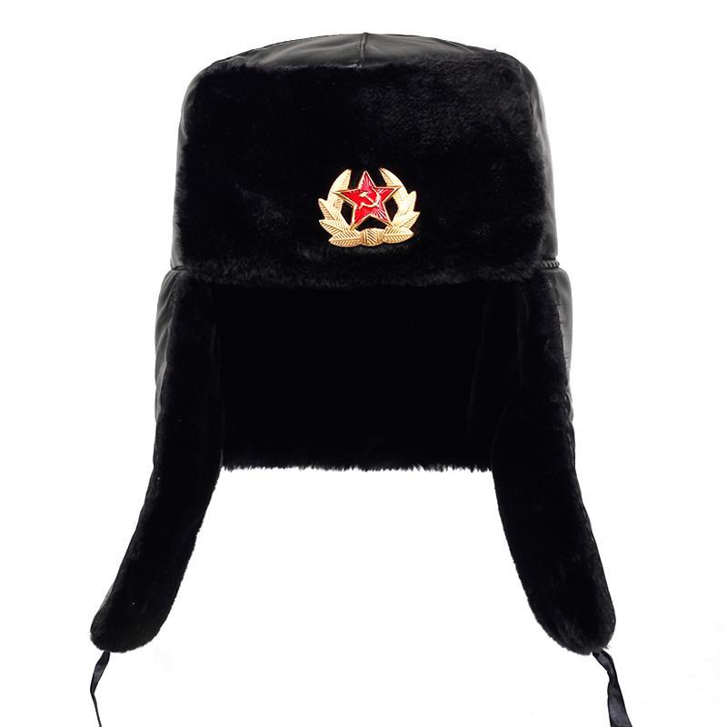 Soviético Exército Distintivo Militar Rússia Ushanka Bomber Bonés Piloto Trapper Tropoer Chapéu Inverno Faux Coelho Pele Earflap Homens Snow Caps