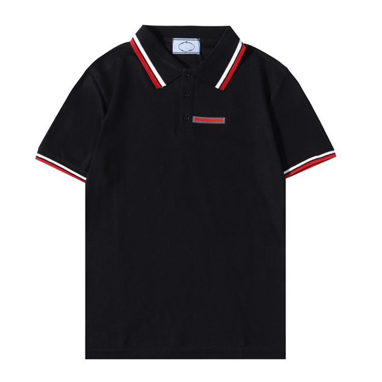 2021 Luxur Bordado Polos Camiseta Moda Personalizado Homens Designer Tshirts Alta Qualidade Preto e Branco 100% Algodão Mens Sistor M-XXL