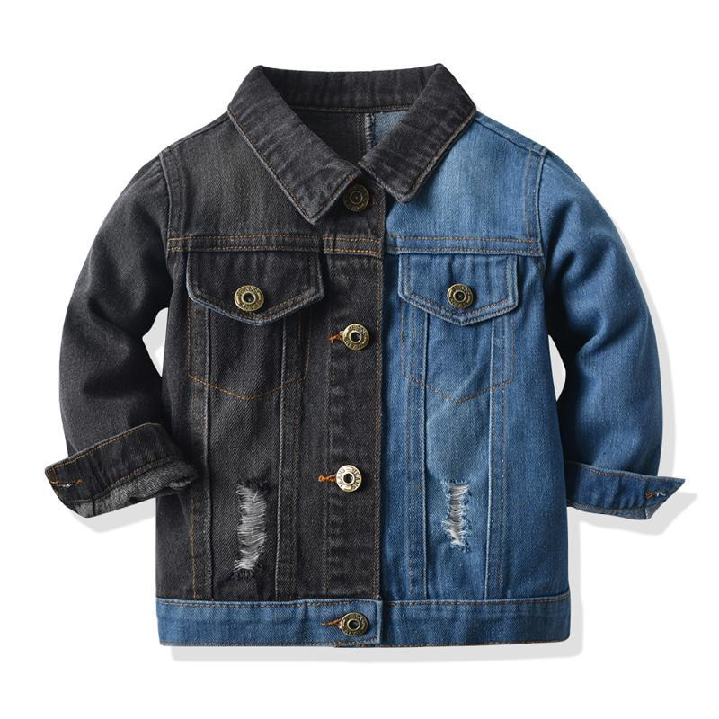 Kids Denim Jackets For Girls Baby Splicing Coats Spring Autumn Fashion Child Outwear Ripped Jeans Jean Clothing Sets