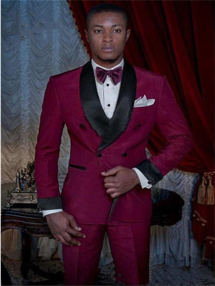Мужские костюмы Blazers Suits Smolking Noivo Terno Slim Fit Fit Easculino вечером для мужчин Бургундский жених свадьба свадьба смокинг.