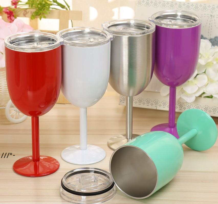 NEW10oz Stainless Steel Wine Glasses Stemless Tumbler Goblet Red Wine-Glasses With Lids Cocktail Mug Solid Colors DIY Cup SeaWAY ZZF9151