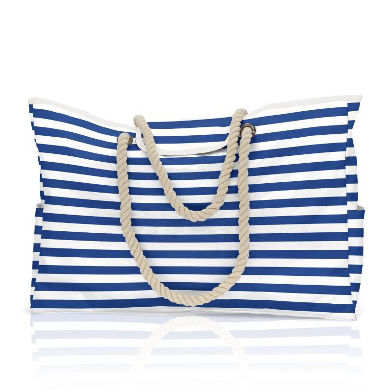 Sacos de noite Femme Verão Grande Capacidade Beach Saco Azul e Branco Listrado Mulheres Designer Bolsa