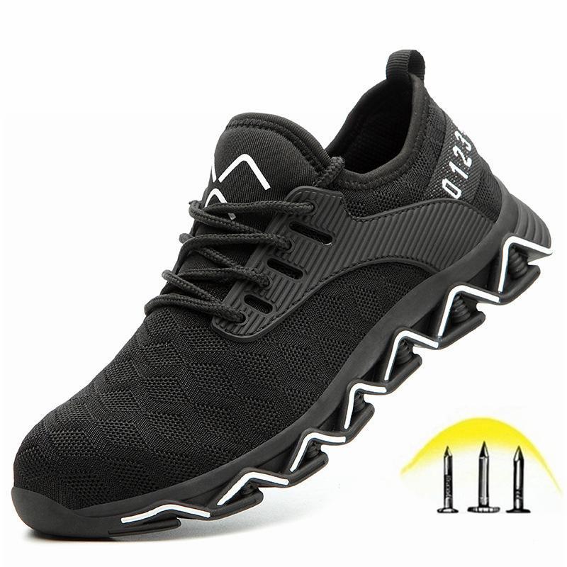 Sapatos de segurança apontados de aço masculinos, sapatos de trabalho leve e respirável, botas anti-punctures macias e confortáveis, imortal e indestrutível