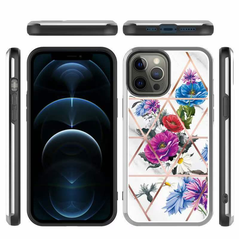 Толщина удара мрамора геометрические случаи для iPhone 12 Mini 11 Pro Max X XS XR 8 7 6S PLUS 6G 7G 8G Galaxy A12 A32 A52 A72 LG K22 Moto G Stylus G-Power G-Play 2021