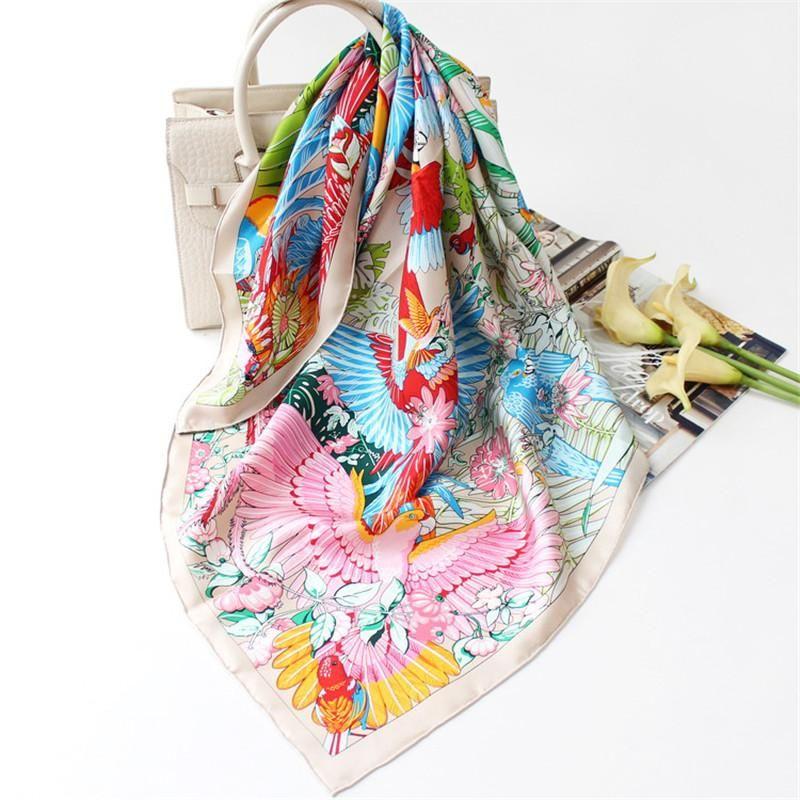 Шарфы 100% чистый шелковый шарф женские попугаи для патрона наквашенные крупы головы платок оптом Hijabs Polys Bandana 90x90cm