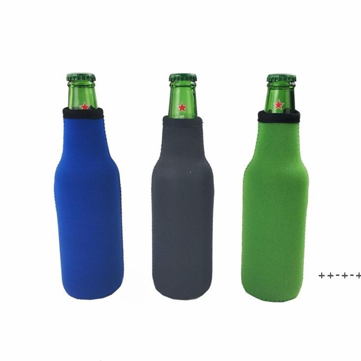 Beer Bottle Sleeve Neoprene Insulation Bags Holder Zipper Soft Drinks Covers With Stitched Fabric Edges Bareware Tool NHD9119