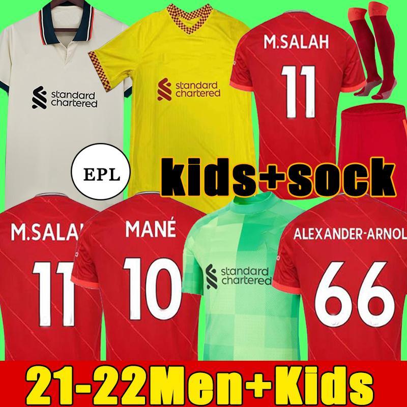 21 22 LVP قمم M.Salah Alexander Arnold Diogo J Soccer Jersey Arigi Milner A.Becker Football Shirt Shaqiri Henderson Wijnaldum Men Kit 2021