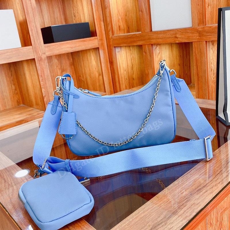 مصمم فاخر 2021 النايلون 2-piece السيدات حقيبة كروسبودي الأفاق حقيبة اليد قماش عادي أكياس مخلب الإبط حزمة محفظة المرأة الأزياء حقيبة الكتف حقائب اليد محفظة