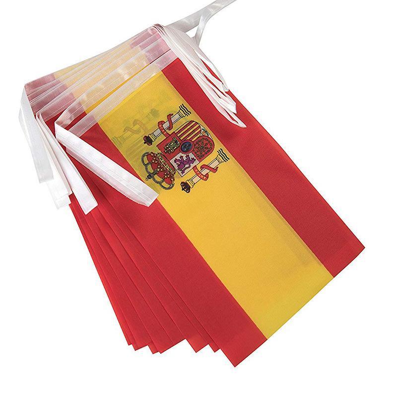5M Long Long Bandera de España Pennant Spainish String Banner Bretaña Buntings Festival Fiesta Decoración de vacaciones