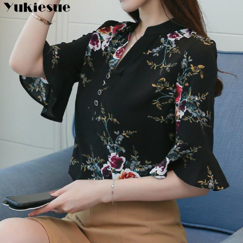 Sommer Kurzarm Blumendruck Shirt Bluse Für Frauen Blusas Frauen Tops und Blusen Chiffon Shirts Frau Top Plus Größe 210412