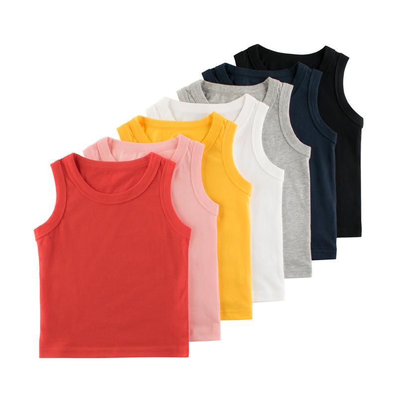 Baby Boy Vest Top T Shirt Solid Color Summer Kid Tee Singlet Sleeveless Waistcoat 7 Colors