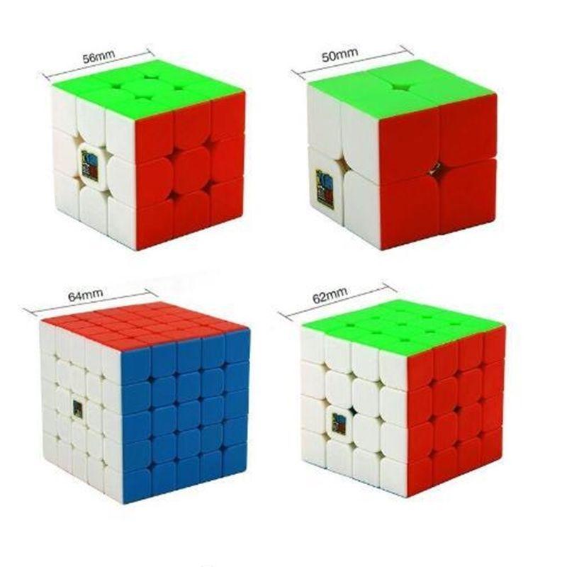 Bundle de vitesse, Moyu MOFANG JIAOSHI MEILONG MF2S 2x2 MF3S 3x3 MF4S 4x4 MF5S 5x5 Cube magique sans autocollant 234 ensemble avec boîte-cadeau Y200428